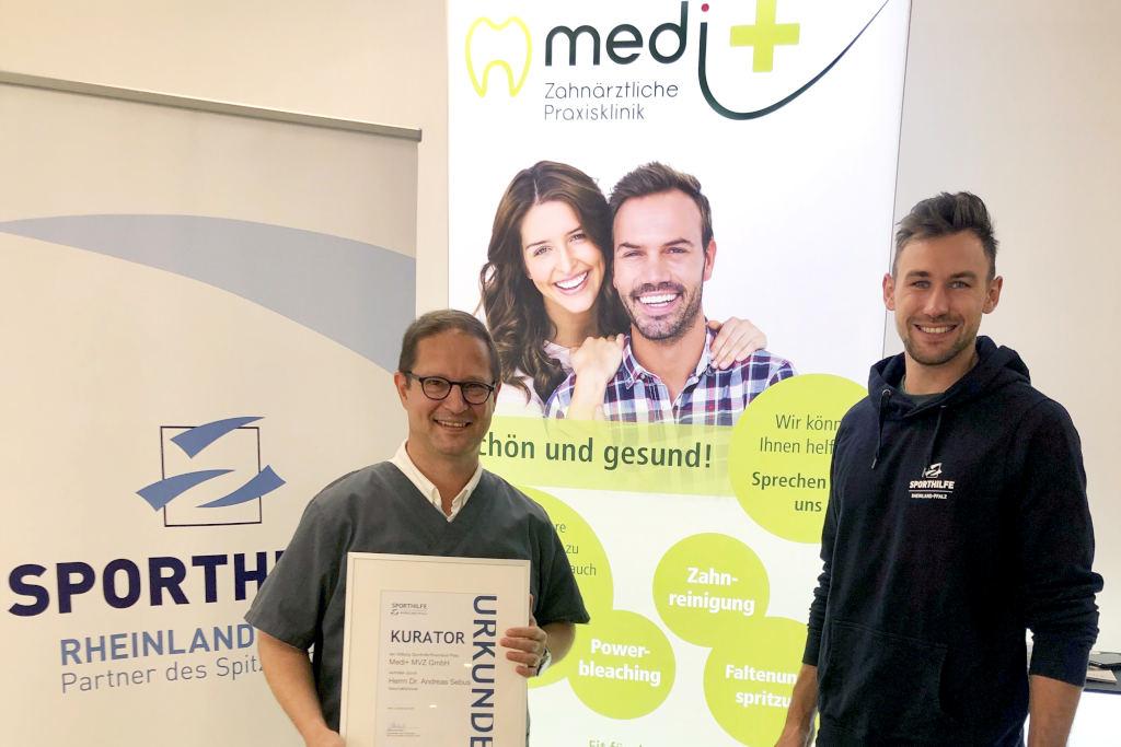 Urkundenübergabe zur Aufnahme von medi+ ins Kuratorium der Stiftung Sporthilfe RLP - Foto: Stiftung Sporthilfe RLP