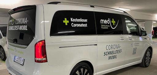 Corona-Schnelltest-Mobil von medi+ für Mainz